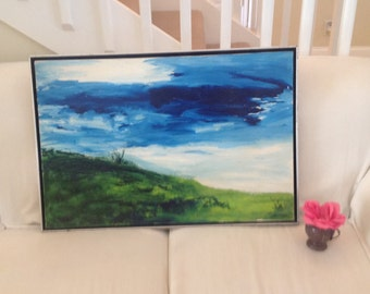 "VINTAGE ABSTACT PAINTING / Blue Sky Green Grass / Gorgeous Vibrant Painting / 31"" x 21"" / Floating Artwork Frame /  at Retro Daisy Girl"