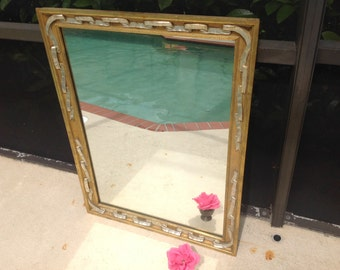 GOLD GILT and SILVER Gilt Ribbon Mirror / Vintage Milch & Son Mirror / Gorgeous Hollywood Regency Mirror at Retro Daisy Girl