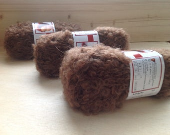 MOHAIR BOUCLE YARN - light Brown - Doll Hair 50gr