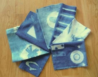Indigo Shibori cotton scrap remnant Bundle hand dyed fabric sewing supplies crafts from MyGypsyCottage