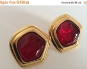 Avon Grand Impressions Red Earrings Vintage Costume Pierced