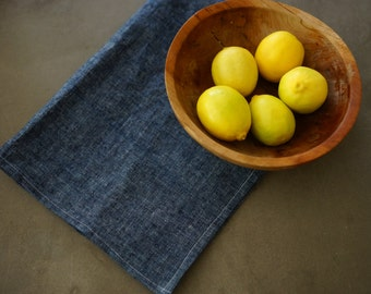 Indigo kitchen tea towel, organic cotton, hemp, modern, organic towel , organic dish cloth, blue towel