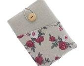 Floral iPad 2 case, iPad 2 mini fabric case iPad 3 sleeve, iPad 3 mini cover, iPad 4 case, fabric iPad 4 mini pouch, floral case, beige, red