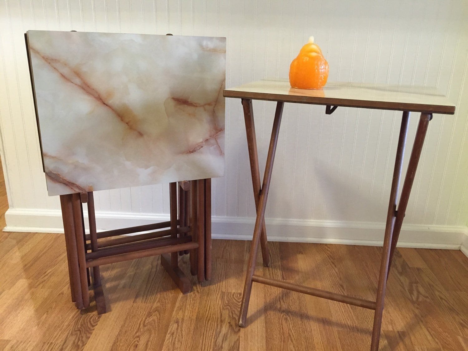 Folding Tv Tray Set Marble Granite Formica Design 5 Tables In