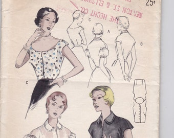 1950s, 1940s Vintage Sewing Pattern, Blouses, Butterick, size 16 SALE