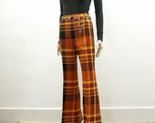 Vintage 1960s Bell Bottom Slacks Bright Plaid Woodstock Era Hippie High Waist Bellbottoms / Small