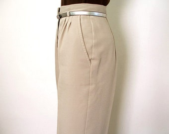 Vintage 1970s Slacks Taupe Tan High Waist Pleat Front Trousers Pants / Extra Small