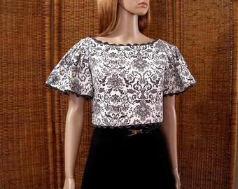 Vintage 1960s Crop Top Blouse Big Flutter Sleeves Black White Floral Top / Small