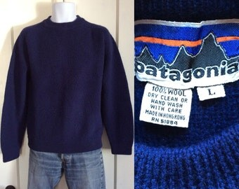 1970's 1980's Patagonia old label Bulky Cobalt Blue Pullover Wool Sweater size L Chunky