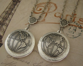 Two Silver World Lockets Wedding Global Traveler Bride Bridesmaids Wedding Wife Husband Friend Wedding Graduation Photo Pictures- One World