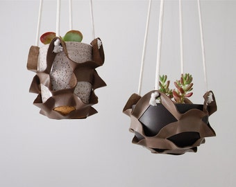 Leather Basket Plant Hanger