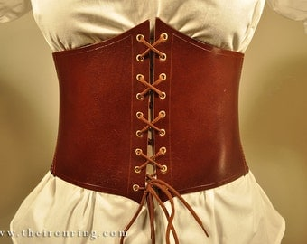 Borea Corset Belt in genuine leather and elastic band, back strips.