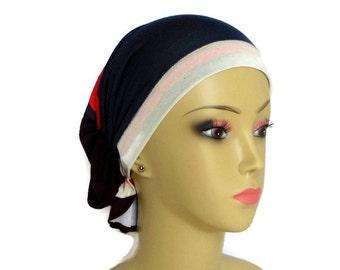 Hair Snood Navy Orange Brown Ivory Jersey Turban, Cancer Patient Volumizer Chemo Headwear, Hair Covering Tichel, Alopecia Head Wear Reg-XL