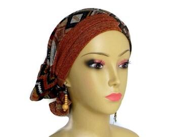 Sweater Knit Aztec Brown/Gold Hair Snood Turban, Cancer Patient Volumizer Chemo Headwear, Hair Covering, Tichel, Alopecia Head Wear Reg-XL