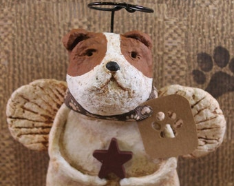 English Bulldog Angel,OOAK, handmade from papier mache, ENGLISH BULLIE,
