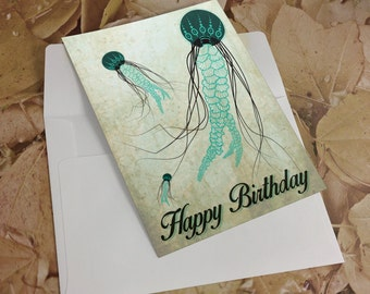 Happy Birthday Jellyfish Greeting Cards (Set of 6 with Envelopes)