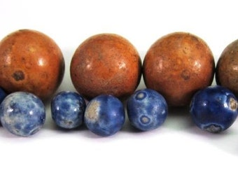 Antique Bennington Marbles Dug Specimens in Blue and Brown, Lot of 15
