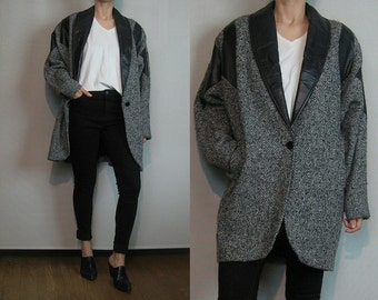 80s TWEED WOOL + LEATHER Salt 'n' Pepper Black White Speckled Flecked Dolman Sleeves Shawl Collar Coat Jacket Small Medium m/l 1980s