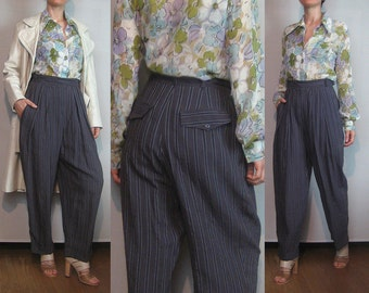 80s EUROPEAN DUSTY MAUVE vtg Purple Textured Cotton Rayon Striped Pleated High Waisted Tapered Cuffed Trousers Pants Small Medium 1980s