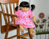 15 Inch Baby Doll Pink Short Sleeve Dress and Cupcake Print Pinafore by SEWSWEETDAISY