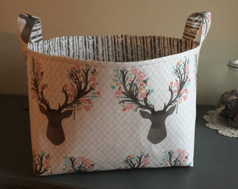Fabric Basket- Deer Antlers- Woodland Theme- Buck Forest- Nursery Decor
