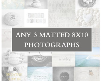 3 Matted 8x10 Prints, Fine Art Photography Print Set, Wall Art Grouping, Wall Art Set, Art Display, Home Decor Pictures, Inspirational Gifts