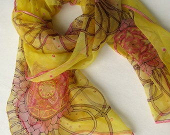 Hand painted sik chiffon scarf - Cinnamon and pink flowers on yellow