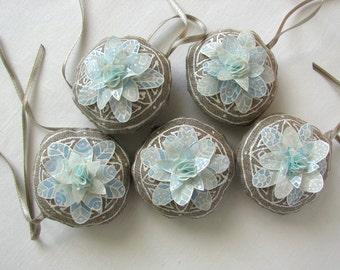5 linen ornaments - light blue silk snowflakes - Christmas tree ornaments