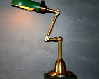 Vintage Industrial Brass Desk Lamp