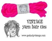 Back To School, Pink Yarn Hair Ties, Vintage Yarn Hair Ribbons, Girls Hair,
