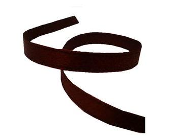 "6mm Civil War Era Brown Silk Satin Ribbon, By The Yard, Antique Silk Ribbon, 1/4"""
