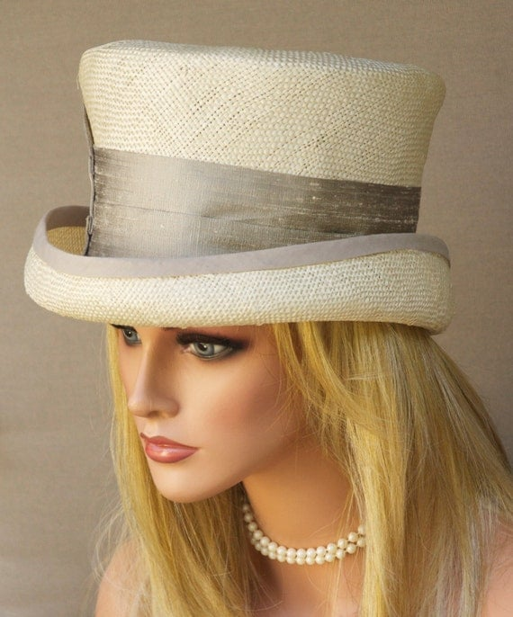 Derby Hat, Wedding Hat, Top Hat, Formal Hat, Church Hat Cream & Taupe Straw Hat. Carriage Hat Victorian English Riding Hat, Ascot Hat, Ivory