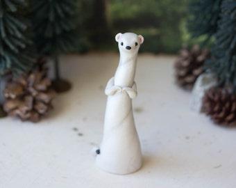 Ermine Sculpture - Winter Weasel by Bonjour Poupette