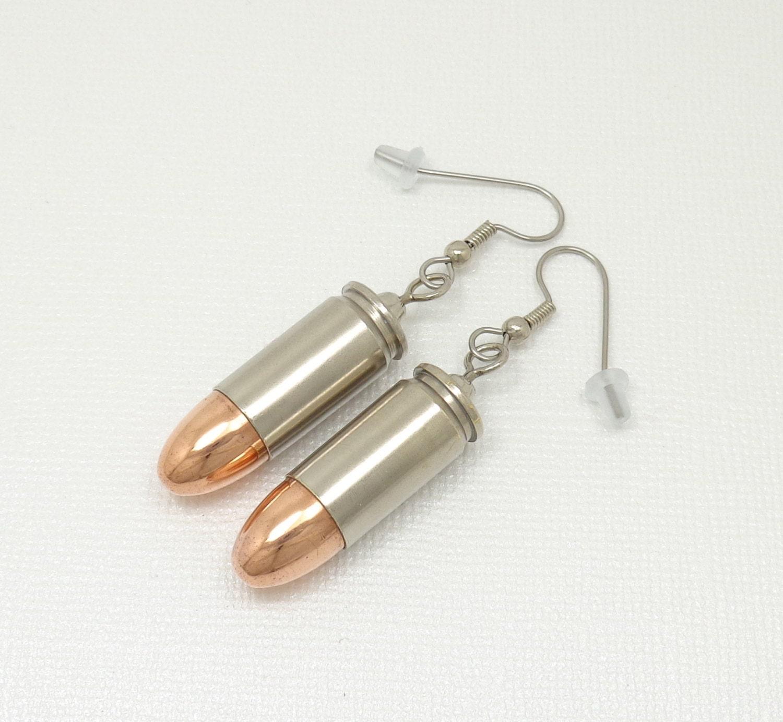 bullet earrings 9mm bullet earrings with surgical stainless