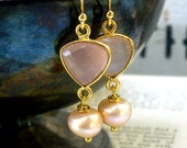 Blushing Pink Perfection, Gold Framed Pale pink Chalcedony Gemstone & Pink Blush Freshwater Pearl Earrings
