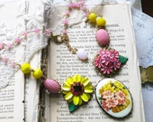 A Basket of Poseys, Vintage Flower Cameo with Pink and Yellow Enamel Flower, Vintage Altered Assemblage Bib Necklace, Hollywood Hill
