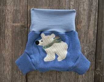 Upcycled Wool Soaker Cover Diaper Cover With Added Doubler Blue Color With Polar Bear Applique LARGE 12-24M Kidsgogreen