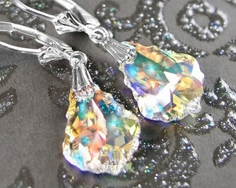 Clear Crystal Earrings Sterling Silver Ice Clear Aurora Borealis Swarovski Crystal Dangle Drop Earrings Baroque Clear Crystal Jewelry