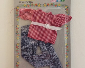 "Vintage 1980s Acid Wash Jeans and Gingham Top Blouse w/ Belt, Jennifer Fashion Outfits, Fits Barbie and all 11.5"" Dolls NIP"