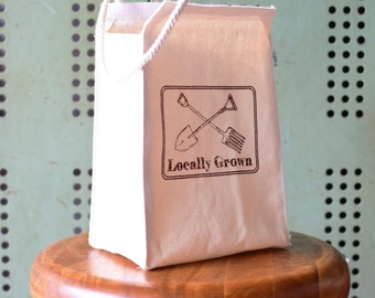 Lunch bag - Lunch Box - Lunch Tote - Reusable Lunch Bag - Screen Printed - Canvas Tote Bag - Lunch Sack - Locally Grown - Farmers Market Bag