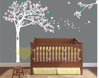 cherry blossom White Tree Wall Decal Tree wall decal Wall Mural Stickers Nursery Tree and Birds Wall Art -Wall decal  Nature Wall Decals