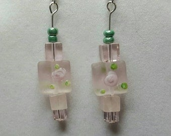 Roses and Pink Squares Staggered Dangle Earrings
