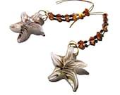 Glass starfish, summer earrings, modern half hoops, black amber white