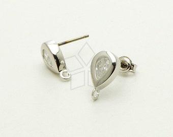 SI-187-OR / 2 Pcs - CZ Bezel Drop Stud Earrings, Silver Plated, with .925 Sterling Silver Post / 6.8mm x 11mm