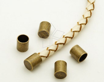 FE-037-AB / 10 Pcs - Cord End Caps (without Loop) for 5mm Leather Cord, Antique Bronze Plated over Brass / 5.2mm inside diameter