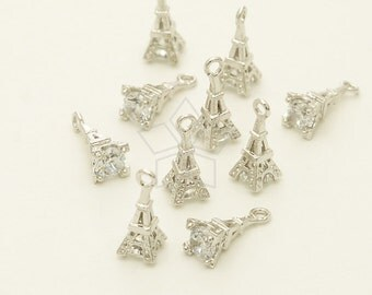 PD-1353-OR / 2 Pcs - Tiny Mini CZ Eiffel Tower Charms, Silver Plated over Brass / 4mm x 11mm