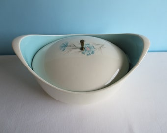 "Casserole Dish by Taylor Smith & Taylor - ""Ever Yours Boutonniere"" Pattern - Blue Flowers"