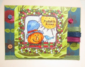 Handmade Fall Card - SCARECROW PUMPKIN KISSES with buttons and jute ribbon