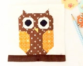 Cute Owl Quilt Block PDF Instant Download Quilt Pattern 6 inch and 12 inch block instructions