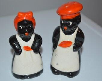 Vintage Salt and Pepper shakers - black memorabalia - kitchen shakers